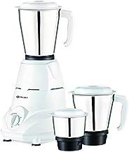Bajaj Rex Mixer Grinder, 500W, 3 Jars (White)
