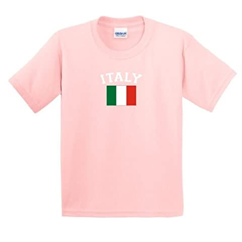 Italy Pride Country Flag Youth T-Shirt X-Large,Light Pink