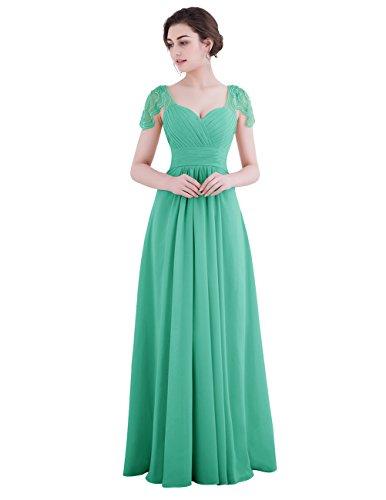 Dresstells Robe de demoiselle d'honneur Robe de soirée forme empire manches courtes longueur ras du sol Vert