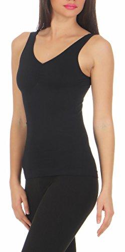 Slim -Fit Unterhemd Mieder Damen Bauchweg-Shirt Ripp Unterwäsche CL 836 Schwarz