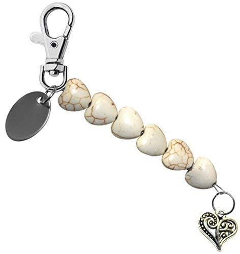 (Gravur Personalisiert Mandala Herz Herz Perle schlusselring / Handtaschen Anhänger in Geschenk Beutel bd9pl112)