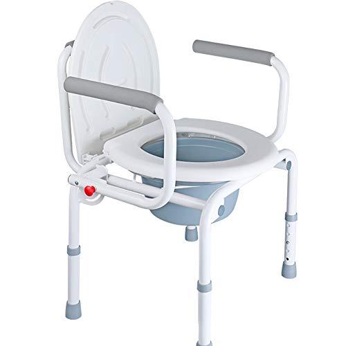 QINAIDI Faltbare tragbare Nachttisch-Toilette, Drop-Arm-Kommode für einfache Übertragungen, Badehocker