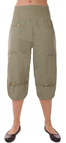 FASHION YOU WANT Damen Leinenhose Größe 36/38 bis Größe 56/58 aus 100% Leinen - leichte Sommerhose Tunnelbund mit Gummizug und 2 aufgesetzten Taschen vorne - (38/40, kurz Khaki)