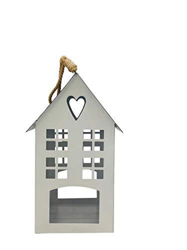Gerry Laterne Windlicht Kerzen-Halter Metall Haus Deko weiß-grau Vintage rustikal Landhaus Herz (klein-23 cm)