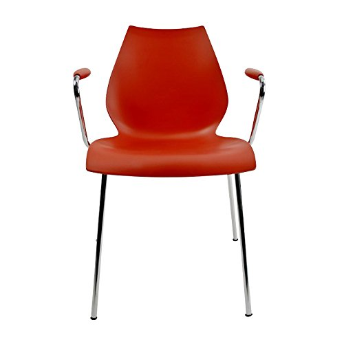 Kartell Maui - Chaise accoudoirs rouge/polypropylène/structure chrome
