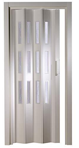 Kunststoff - Falttür mit 3 Fenster Luciana weiß 88,5x202 cm doppelwandig 10 mm; Made in Italy