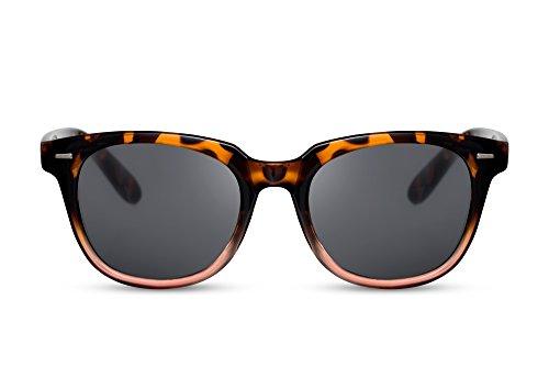 Cheapass Sonnenbrille Schwarz Braun Recht-Eckig Leo-Muster UV-400 Klassisch-Elegant Designer-Brille Plastik Damen Herren -