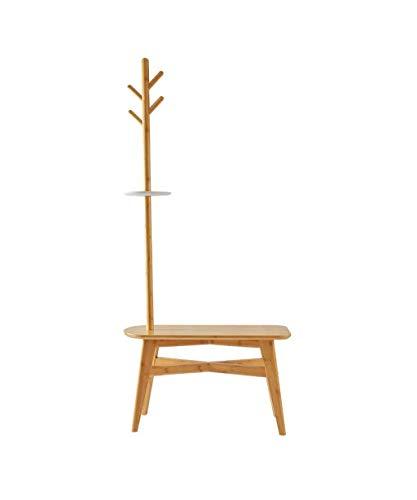 FJIE Hall Tree Garderobenständer Mit Haken, Garderobenständer Und Bank Mit Regalen, Industrial Coat Tree, 68 X 151 cm - Coat Tree