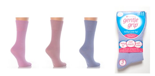 6 Pairs Plain Ladies Gentle Grip Honeycomb Top Socks 6 Colours