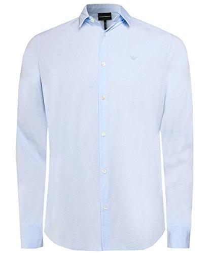 Emporio Armani Herren Slim-Fit Stretch Shirt Azzurro L
