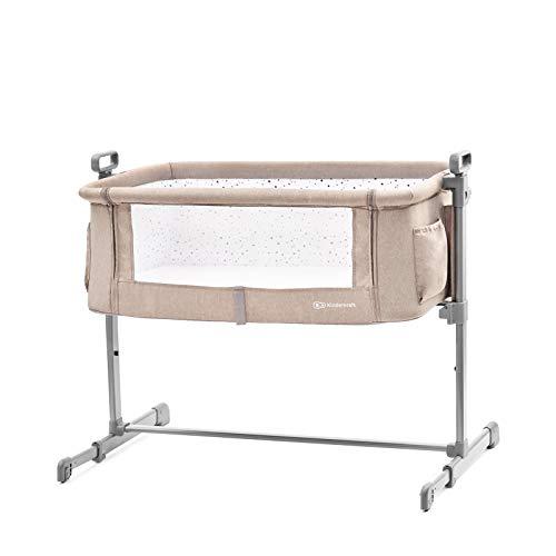 Kinderkraft Cuna colecho de bebe Neste Cuna de viaje plegado fácil de Plegar Co-Sleeping con anclaje a cama con accesorios Bolsa Colchón ajuste de altura para bebés niños Normativa EN 1130