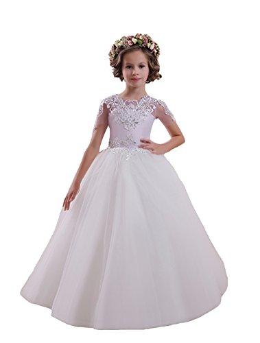 en Halbe Ärmel Lila Heilige Kommunion Kleider Kinder Bodenlänge Puffy Tüll (5) (Erste Kommunion Kleider Puffy)
