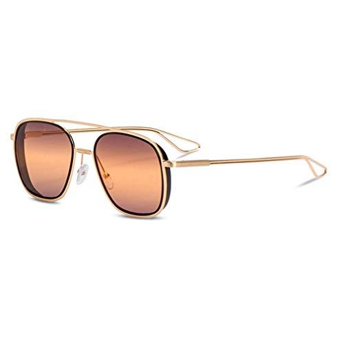 HQMGLASSES Double Beam Gradient Lens Sonnenbrille-Fashion Women Men Vintage Retro Gold Frame Aviator Brille UV400 Sun Glasses,03