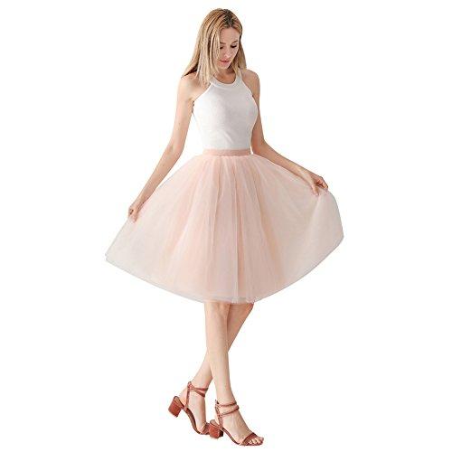 ShowYeu Damen Mid Calf Petticoat A-Linie Tutu Tüllrock Party Abschlussball Jupe Saias Brautjungfernkleid ()