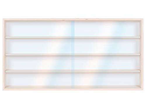 Vitrine Setzkasten V80.4a Holzregal Wandvitrine Spur H0 & N Regal - 80 x 39 x 8,5-4 Ebenen mit Nuten & Plexiglasscheibe (2 Regal Bücherregal Birke)
