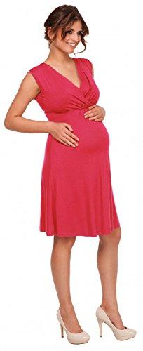 Happy Mama Femme. Robe patineuse maternité d'allaitement. Sans manches. 808p Framboise