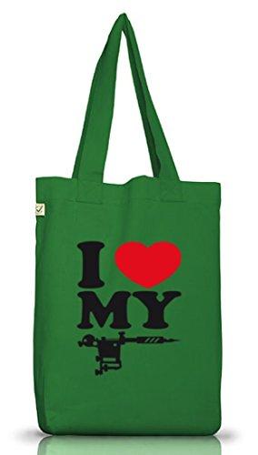 Shirtstreet24, I LOVE MY TATTOO, Tätowierung Tätowierer Jutebeutel Stoff Tasche Earth Positive Moss Green