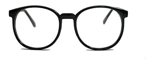 Classic Nerdbrille große runde Pantobrille Streberbrille schwarz clear lens Damen Herren