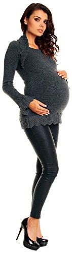 Zeta Ville Maternité - Tunic crochet en maille de grossesse bolero - femme 402c Graphite