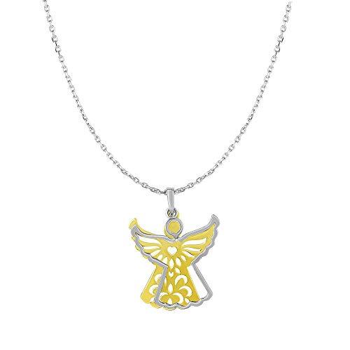Sterling Silber Gelb Vergoldet Kette: 1mm Anhänger: 20x 30mm Kette Engel Halskette Karabinerverschluss–46Cent