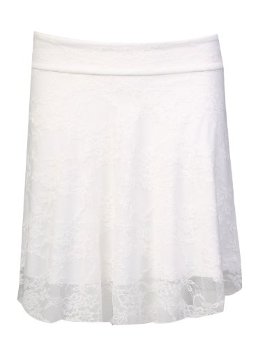 Fast Fashion -Jupe Évasée Les Femmes Lacent Mini-Patineur Floral - Femme Blanc