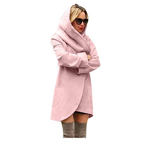 Tee Boba Kostüm - iHENGH Damen Winter Jacke Dicker Warm Bequem Lose Parka Mantel Frauen Lässig Stilvoll Woolen mit Kapuze dünnen Hoodies Top(L,Rosa)