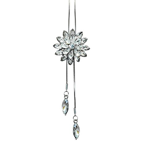 63942855621861 NOVADAB Flower Pendant with Crystal Long Necklace for Women (White)