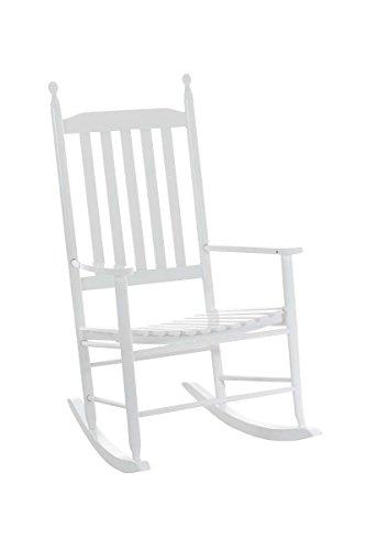 Clp sedia a dondolo marissa v2, sedia in legno, sedia da giardino con braccioli, sedia a dondolo bianco