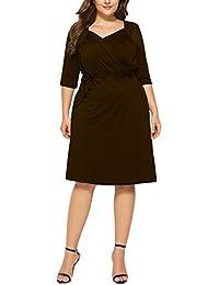 Donna Vestiti Elegante Autunno Party Vestiti Puro Colore Manica Lunga  Bendare Pieghe Anni 581 Casual Abiti da Sera… eb830ab260d