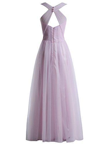 Bbonlinedress Robe de cérémonie et de demoiselle d'honneur légère plissée col V sans manches et strass longueur ras du sol en tulle Ivoire