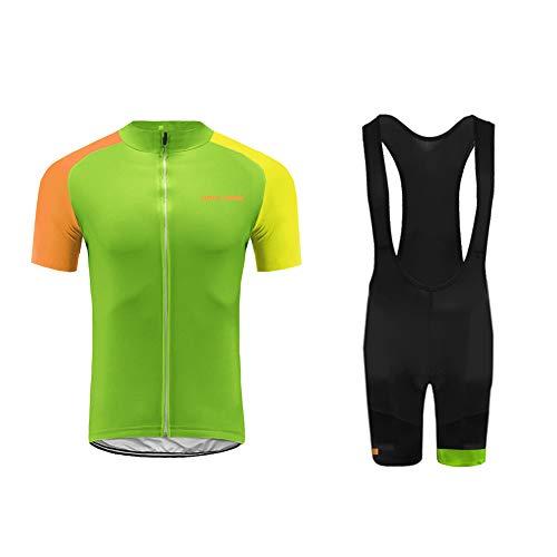 Uglyfrog Rennrad Herren Radtrikot Set Kurzarm mit Sitzpolster für MTB Rennrad Fahrrad Jersey + Bib Shorts Radsportanzug DEHerren15 -