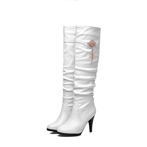 Rund Eingelegt Hoher Stiefel Zehe Weiß Damen Mit Metalldekoration Hoch spitze Absatz Voguezone009 SfgHxq1