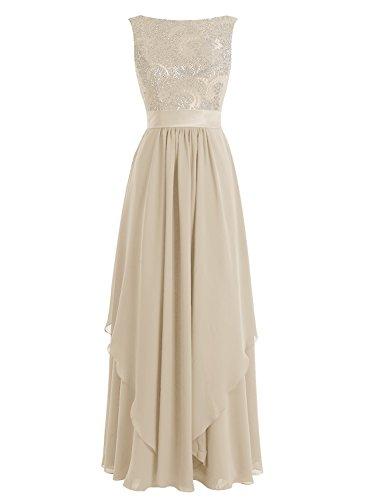Bbonlinedress Robe de cérémonie Robe de soirée en mousseline forme empire longueur ras du sol Champagne