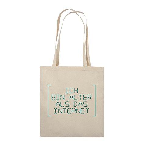 Comedy Bags - ICH BIN ÄLTER ALS DAS INTERNET - RETRO - Jutebeutel - lange Henkel - 38x42cm - Farbe: Schwarz / Silber Natural / Türkis