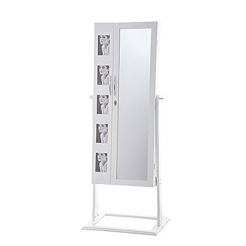 CLP Jewellery Cabinet BONITA, Mirror, 5 Photo Frames, Key And Lock, Plenty  Of Storage Sapce White