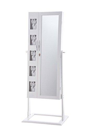 CLP Schmuckschrank Standspiegel BONITA, Bilderrahmen integriert, viele Steckplätze + Haken für Schmuck & Accessoires Weiß