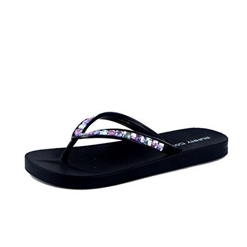 ALUK- Été - sandales plates sandales plates et sandales décontractées ( Couleur : Color drill , taille : 38-Shoes long240mm ) Color drill