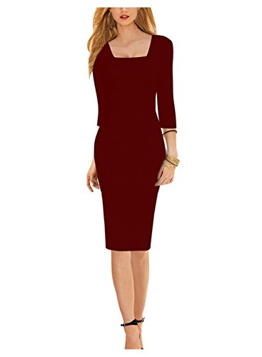 Sparkling YXB Damen Elegantes Etuikleid 3/4-Arm Knielang Business Pencil Kleider Schwarz Burgund