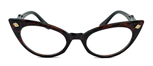 50er Jahre Katzenaugen Brille Cat Eye Modell Klarglas Mode-Brille ohne Sehstärke C95 (hornfarbig dunkel)