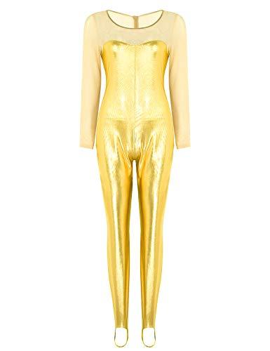 Jumpsuit Kostüm Gold - CHICTRY Damen Jumpsuit Metallic Bodysuit Overall Mesh-Spleiß Ganzkörperanzug Gymnastikanzug mit Fußbügel Halloween Party Kostüm Gold Small