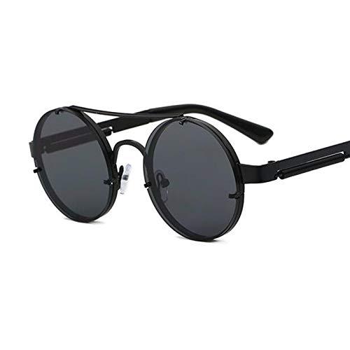 AAMOUSE Sonnenbrillen Steampunk Sonnenbrille Runder Goldrahmen Metall Gothic Herren Sonnenbrille Frauen ShadesBlack Brille Männlich Retro Brille