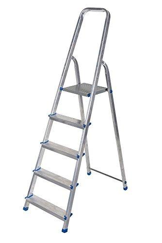 Alu Leiter 3 bis 8 Stufen Haushaltsleiter Malerleiter Mehrzweck Klapptrittleiter TÜV (5 Stufen)