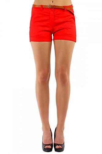 Damen Hotpant Chino Shorts kurze Hose mit Gürtel ( 278 ), Grösse:M / 38, Farbe:Orange (Shorts Kurze Super)