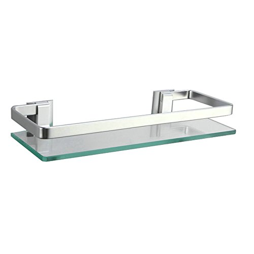 Alicemall Estante Baño Cristal Estantería Aluminio Vidrio Estante Esquina con Barandilla 350mm x 120 mm para Baño