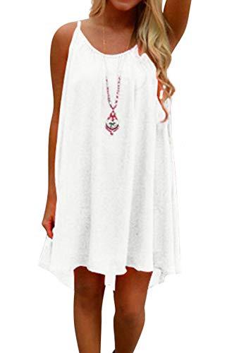 HAINES Damen Strandkleid Ärmellos Rückenfrei Lose Neckholder Chiffon Kleid Luftiges Sommerkleid Minikleid Weiß S