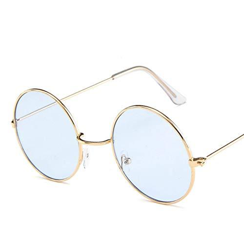 Sonnenbrille,Neue Runde Sonnenbrille Damenmode Vintage Ozean Objektiv Sonnenbrille Uv400 Transparent Gold Blau