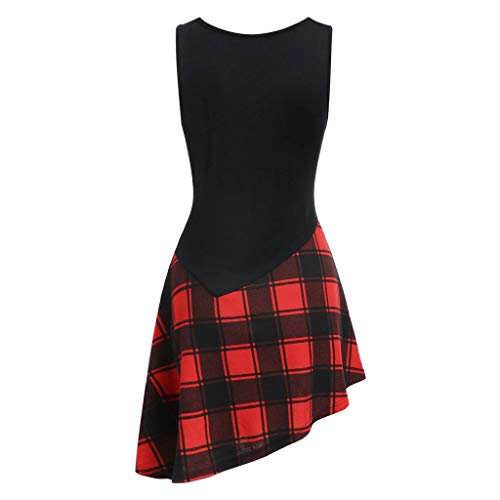 LSAltd Sommer-Frauen-populäres klassisches Plaid-Patchwork schnüren Sich Oben asymmetrisches Minikleid-Damen-beiläufiges ärmelloses tägliches Schwingen-Kleid