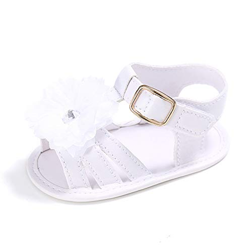 LACOFIA Sandali estive Bianco per Bambina Scarpe da Primi Passi per neonata con Fiore 6-12 Mesi
