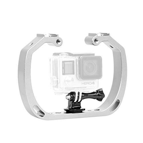 The Gopro Double Handle is a compact underwater aluminum support with dual handle design for stabilizing underwater shot with your Gopro camera. The arm features 1/4'' hole and dual hot shoes for the added gear, and In the base of the 1/4'' screw is ...