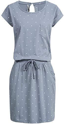 Fresh Made Damen Midi Jersey Kleid LFM-139/LFM-155 Shirtkleid mit Bindegürtel, Knielang Middle Blue S Flower Jersey Kleid
